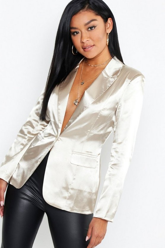 Satin Pocket One Button Blazer