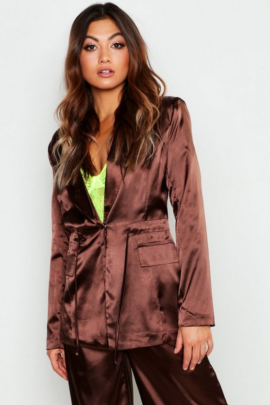 Womens Chocolate Satin Draw Cord Blazer