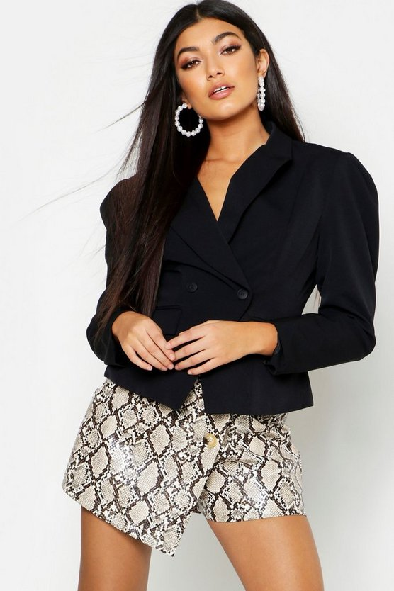 Pleated Shoulder Cropped Blazer