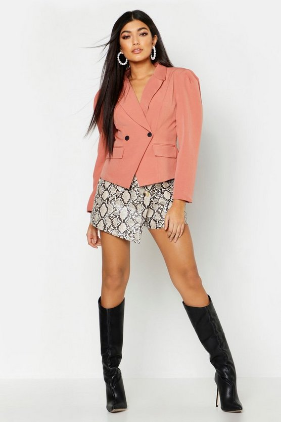 Womens Terracotta Pleated Shoulder Cropped Blazer