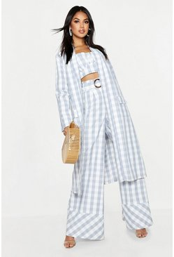 Womens Blue Woven Gingham Longline Duster