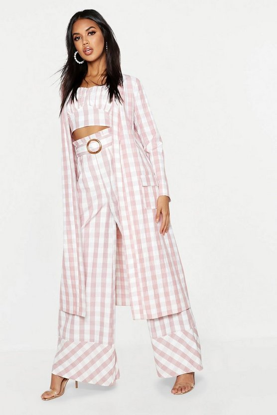 Womens Pink Woven Gingham Longline Duster