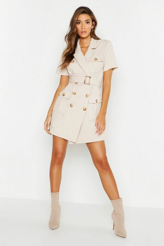 Womens Stone Woven Pocket Belted Utility Dress