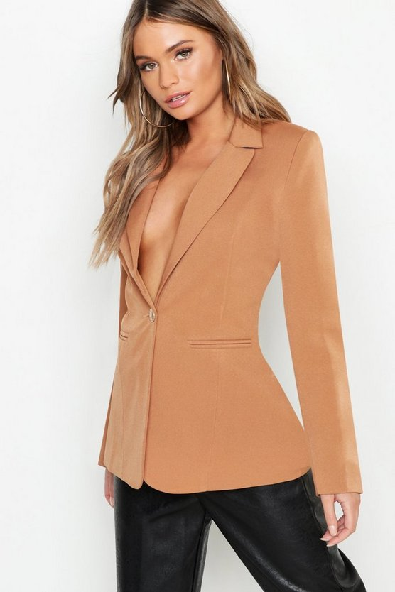 Womens Camel Woven Plunge One Button Blazer