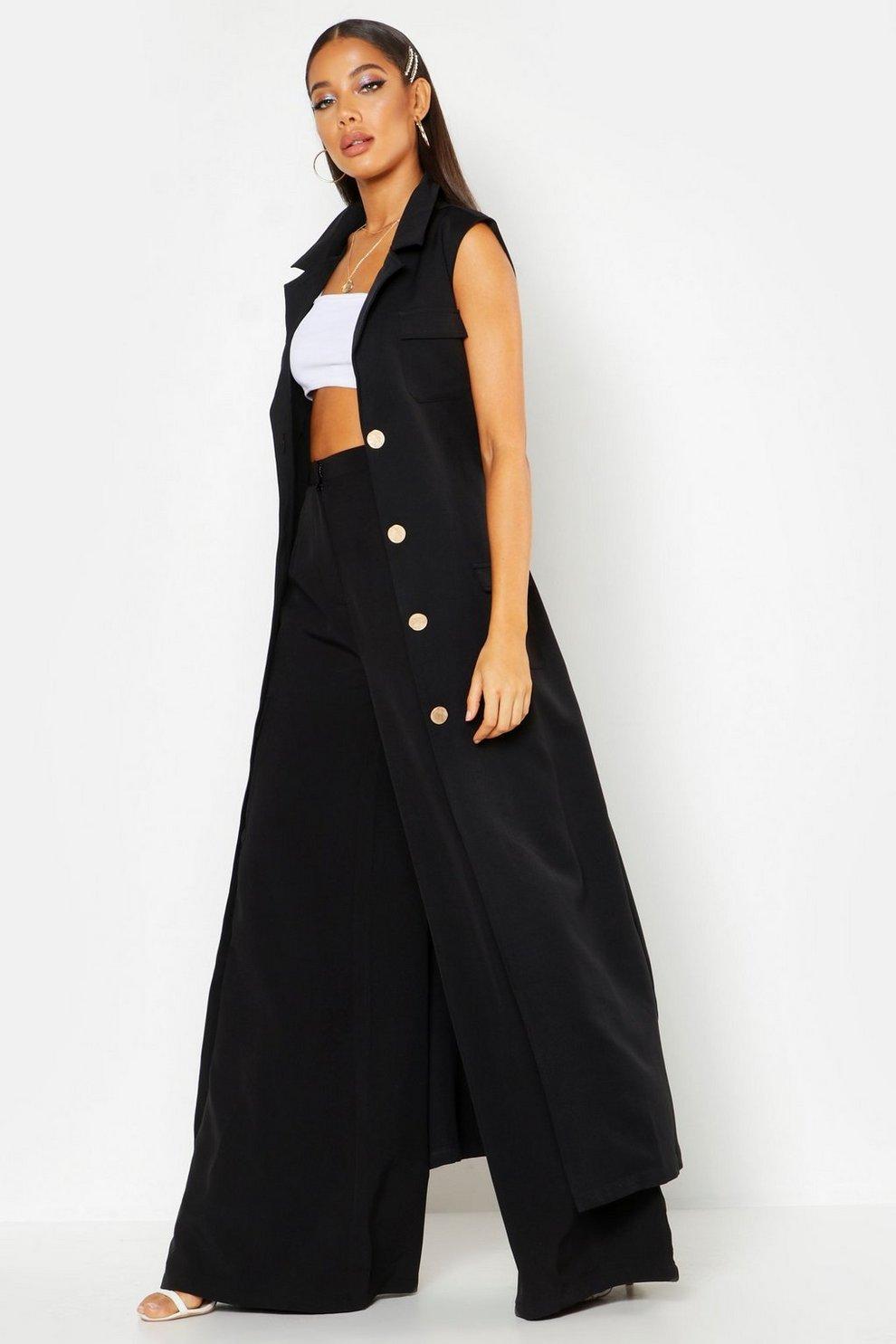 14835159260 Womens Black Longline Maxi Sleeveless Duster