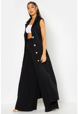Womens Black Longline Maxi Sleeveless Duster
