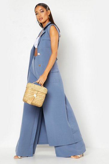 Womens Longline Maxi Sleeveless Duster