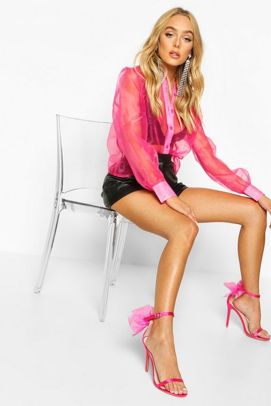 Hot pink Organza Mesh Long Sleeve Blouse