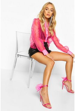 Womens Hot pink Organza Mesh Long Sleeve Blouse