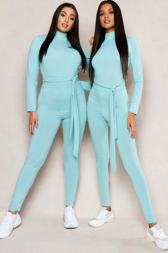 Womens Turquoise Jumbo Rib High Waisted Legging