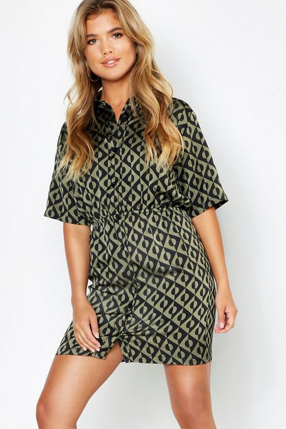 Womens Khaki Woven Geo Print Button Through Shirt Dress