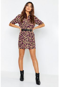 Womens Stone Woven Leopard Button Through Shirt Dress