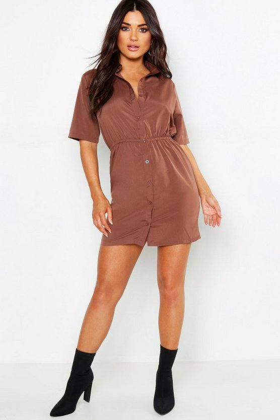 Woven Button Through Shirt Dress