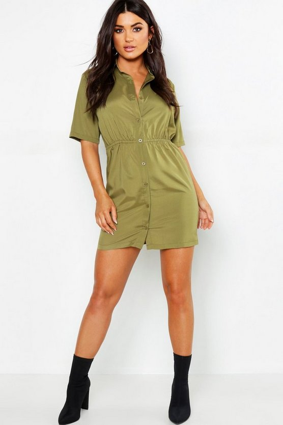 Womens Khaki Woven Button Through Shirt Dress