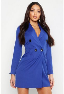 Womens Navy Double Breasted Blazer Dress