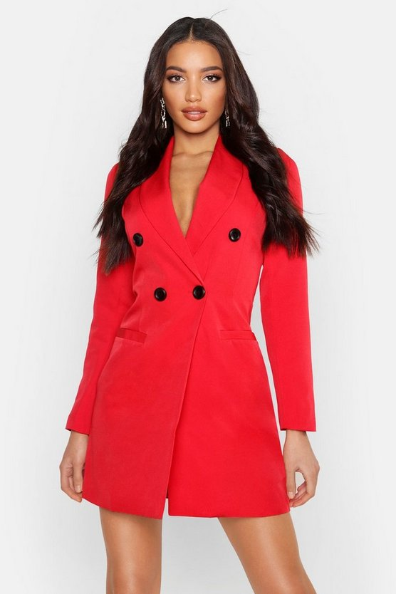 Womens Red Double Breasted Blazer Dress