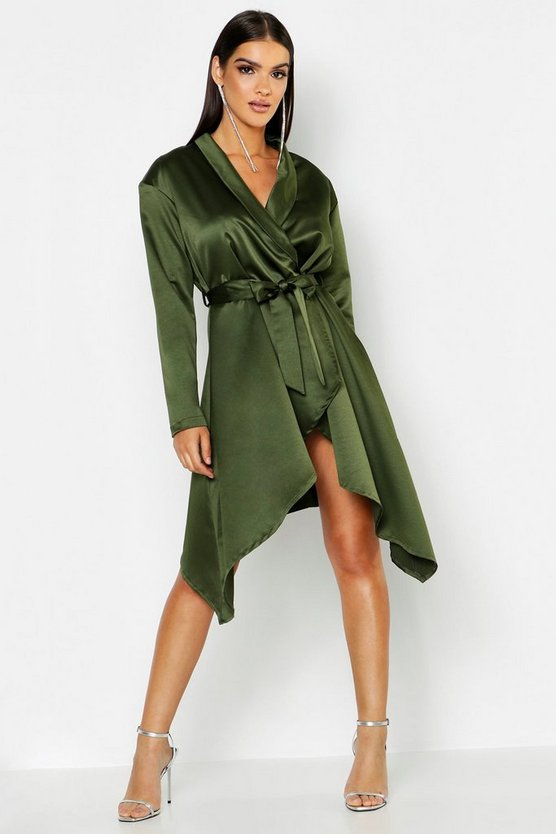 Extreme Shoulder Pad Wrap Blazer Dress