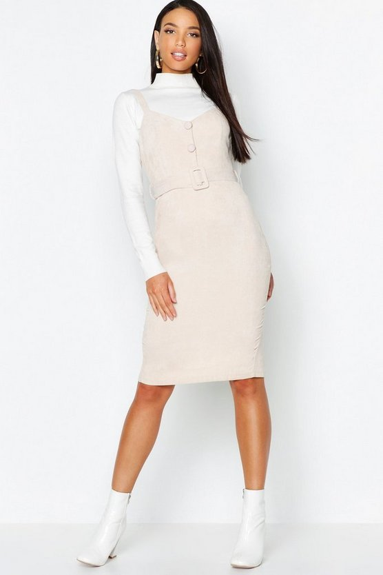 Baby Cord Button Belted Midi Dress
