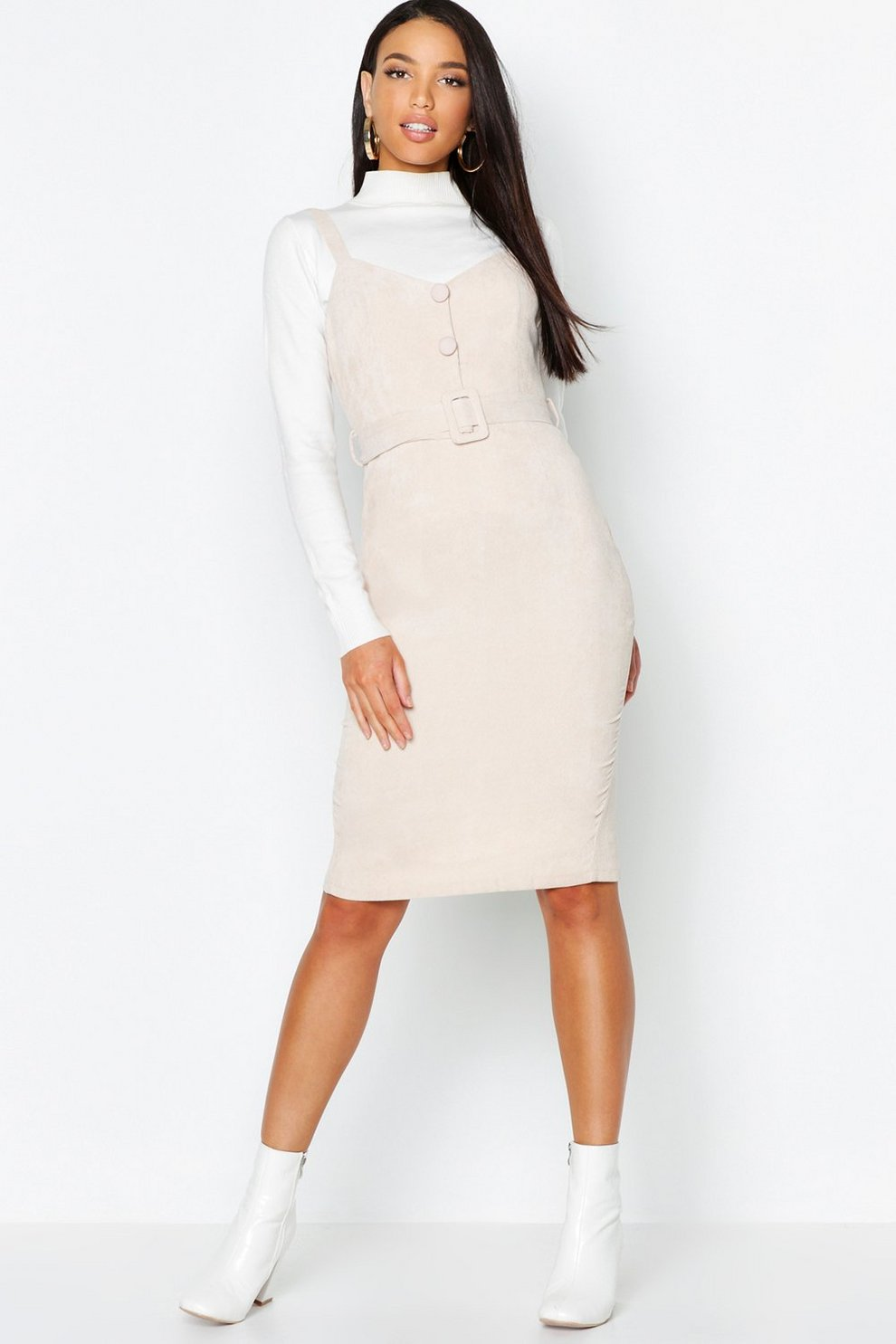 d49a9baea622 Baby Cord Button Belted Midi Dress | Boohoo