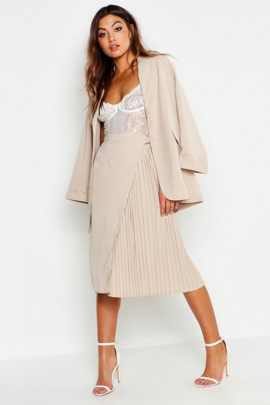 Woven Pleated D Ring Belted Midi Skirt