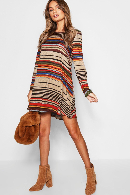 Knitted Stripe Swing Dress