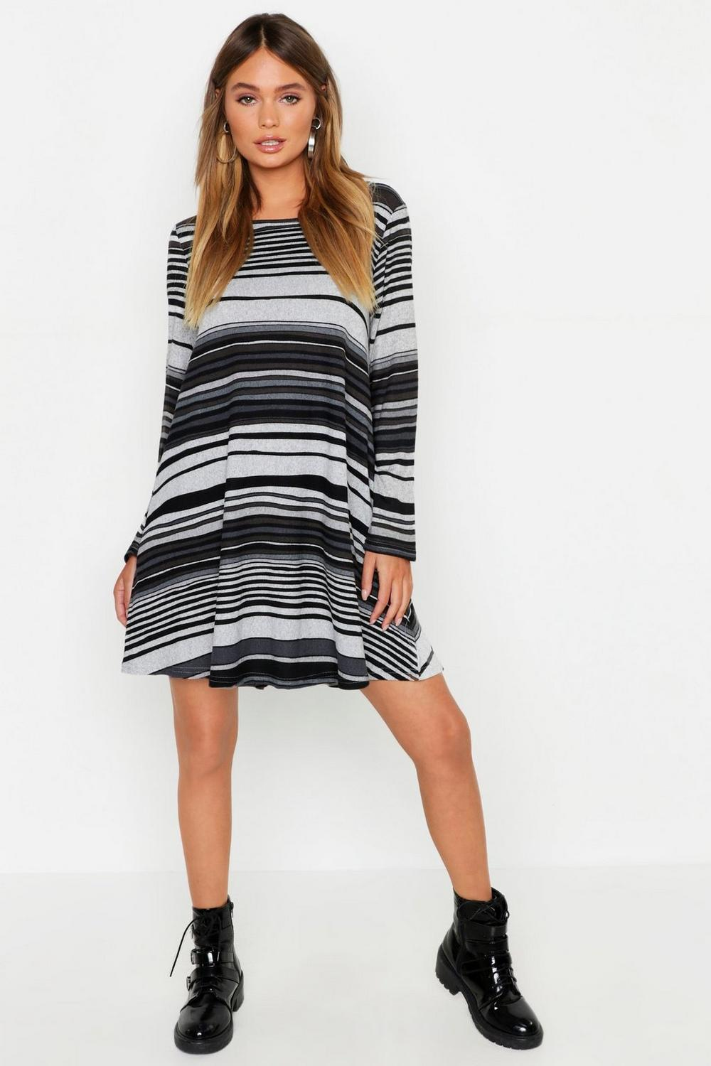 b50c6272577 Womens Grey Knitted Stripe Swing Dress. Hover to zoom