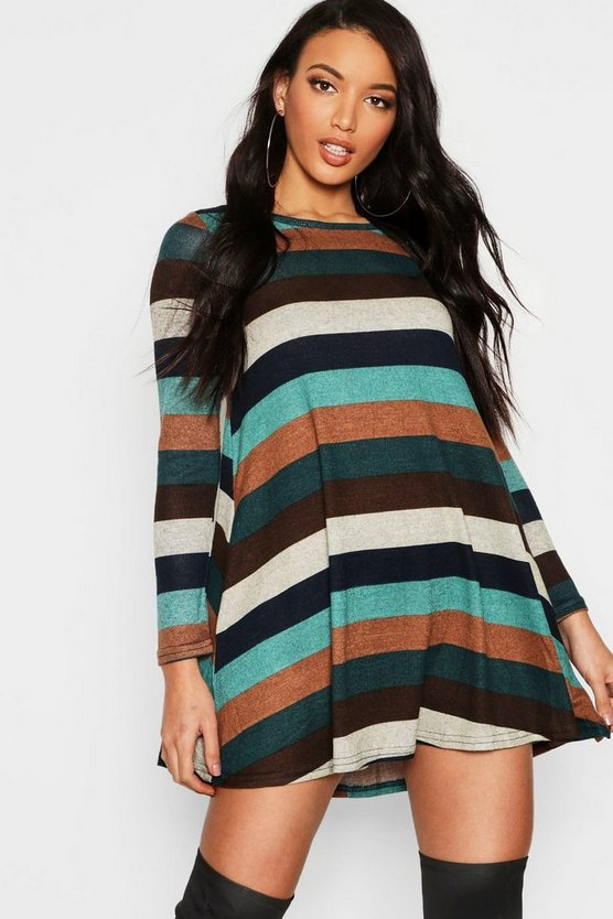 Womens Chocolate Knitted Stripe Swing Dress
