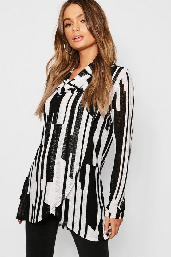 Stripe Print Cowl Neck Knitted Top