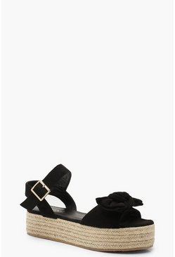 Womens Black Bow Trim Espadrille Flatforms