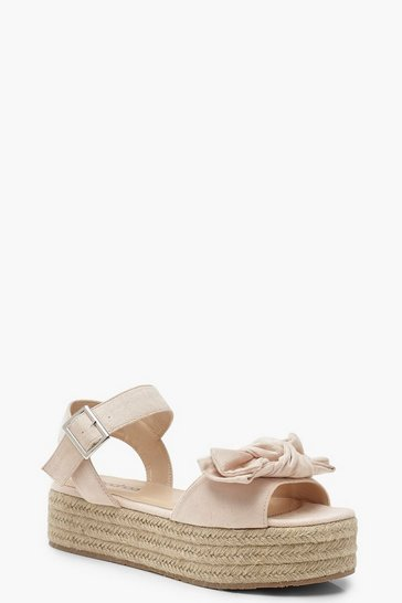 Womens Blush Bow Trim Espadrille Flatforms