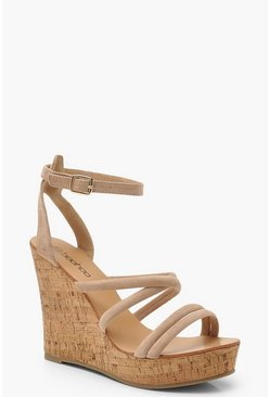 Womens Beige Tubular Cork Wedges