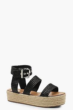 Woven Triple Band Espadrille Flatform Sandals