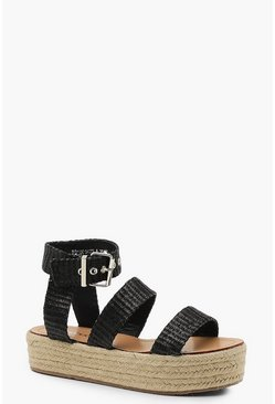 Womens Black Woven Triple Band Espadrille Flatform Sandals