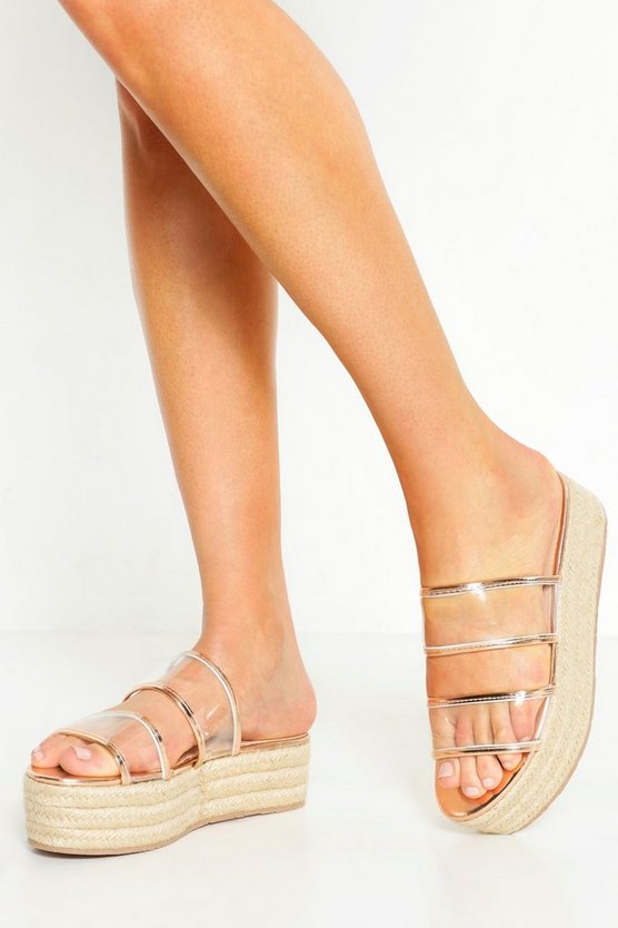 Womens Rose gold Clear Panel Espadrille Flatform Sliders