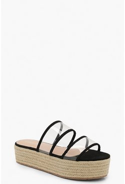 Womens Black Clear Panel Espadrille Flatforms
