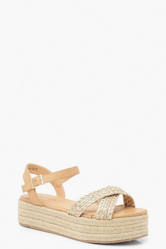 Womens Beige Woven Metallic Flatforms