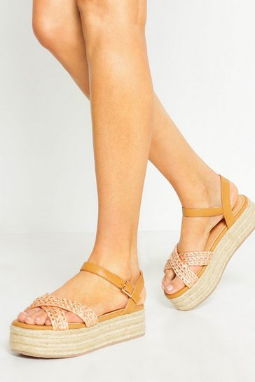 Womens Orange Woven Metallic Flatform Espadrilles