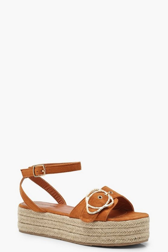 Womens Tan Buckle Trim 2 Part Flatforms