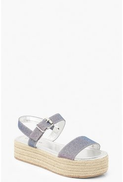Womens Grey Metallic Buckle Flatforms