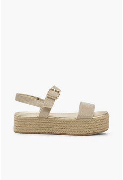 Womens Gold Metallic Buckle Flatforms