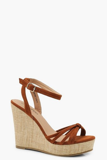 Womens Tan Caged Front Wedges