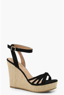 Womens Black Caged Front Wedges