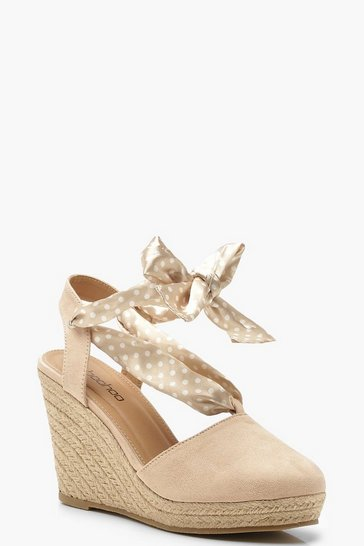 Womens Nude Polka Dot Wrap Espadrille Wedges