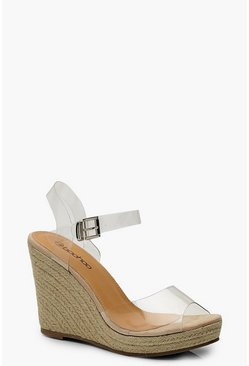 Womens Nude Clear Peeptoe Espadrille Wedges