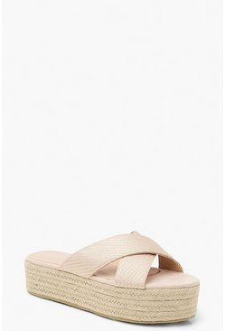 Womens Blush Striped Tonal Espadrille Flatform Sliders