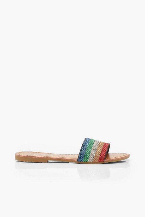 Rainbow Stripe Metallic Sliders