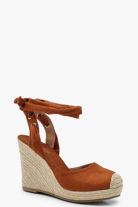 Womens Tan Round Toe Espadrille Wedges
