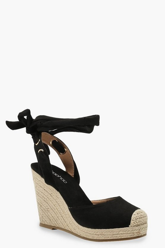 Womens Black Round Toe Espadrille Wedges
