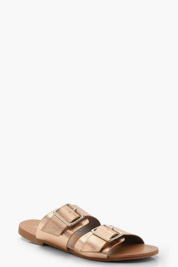 Womens Rose gold Double Buckle Sliders