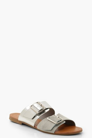 Womens Silver Double Buckle Contrast Sliders
